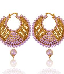 Buy Fabulous white golden pearl polki bali earrings with jali work by adiva absat0cb00105 TDS 8 hoop online