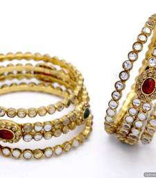 Buy ANTIQUE GOLDEN OVAL SHAPED KUNDAN STONE STUDDED 6 PIECE BANGLE SET (KUNDAN RED GREEN)  - PCB1022 bangles-and-bracelet online