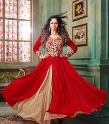 Buy Red georgette embroidered semi stitched gown party-wear-gown online