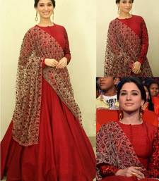 Buy red crepe embroidered semi stitched salwar with dupatta bollywood-salwar-kameez-online online