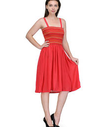 Buy Coral colored round neck dress western-wear online
