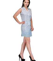 Buy White and skyblue colored round neck dress western-wear online