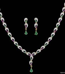Buy AD STONE STUDDED ELEGANT NECKLACE SET (RED GREEN)  - PCADN10010 Necklace online