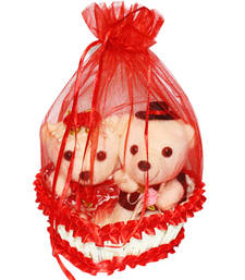 Buy Red love potli basket with couple teddy showpiece valentine gift set gifts-for-girlfriend online