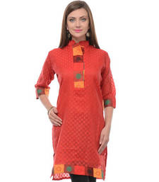 Buy Orange cotton blend woven stitched kurti plus-size-kurti online
