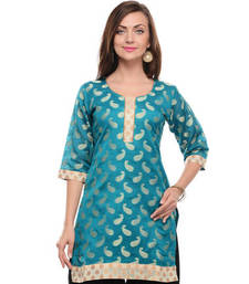 Buy Sky blue cotton blend woven stitched kurti plus-size-kurti online