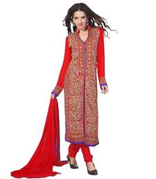 Buy Red georgette semi stitched salwar with dupatta party-wear-salwar-kameez online