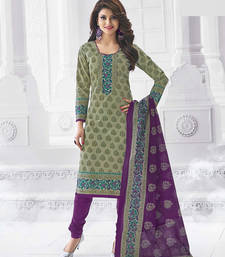 Buy Green and purple cambric cotton semi stitiched salwar with dupatta party-wear-salwar-kameez online