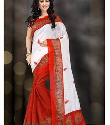 Buy white printed bhagalpuri silk saree With Blouse bhagalpuri-silk-saree online