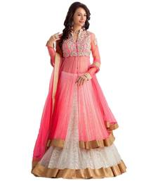Buy Pink and white brasso embroidery unstitched lehenga choli lehenga-below-1000 online