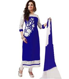 Buy Blue georgette embroidered semi stitiched salwar with dupatta cotton-salwar-kameez online