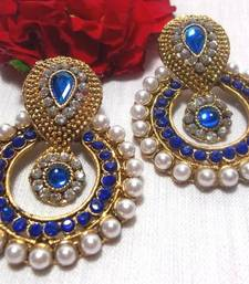Buy Blue Stone Pearl Polki Earrings danglers-drop online