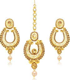 Buy Wavy Gold Plated Earring With Mangtikka Set For Women jewellery-combo online