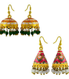 Buy Meenakari tokri and cone shaped jhumki combo-earring online