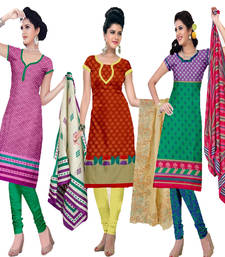 Buy Multicolor cotton printed unstitched salwar with dupatta salwar-combo online