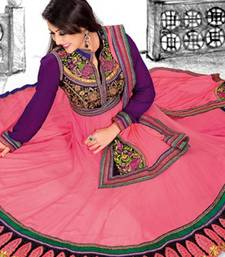 Buy Tomato red designer embroidered semi stitched anarkali suit anarkali-salwar-kameez online