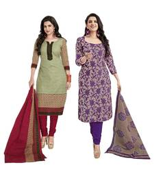 Buy Green and violet polyester printed unstitched salwar with dupatta salwar-combo online