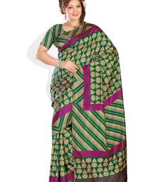 Buy multicolor printed art silk saree With Blouse bhagalpuri-silk-saree online