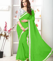Buy Green  Embroidery chiffon saree with blouse chiffon-saree online