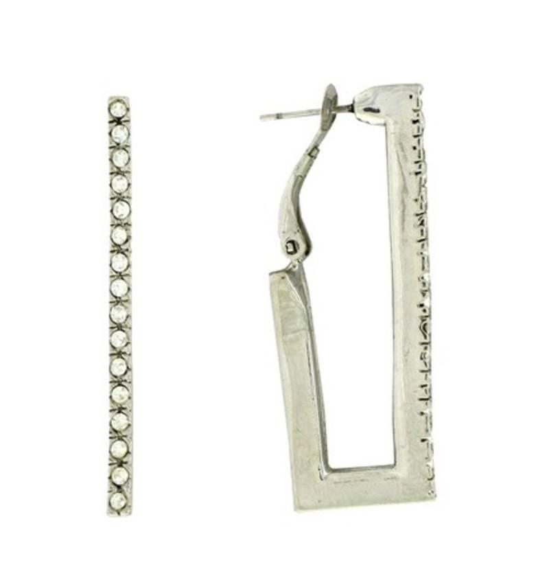buy silver rectangle hoop earrings