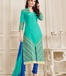 Buy Sea blue embroidered cotton unstitched salwar with dupatta dress-material online