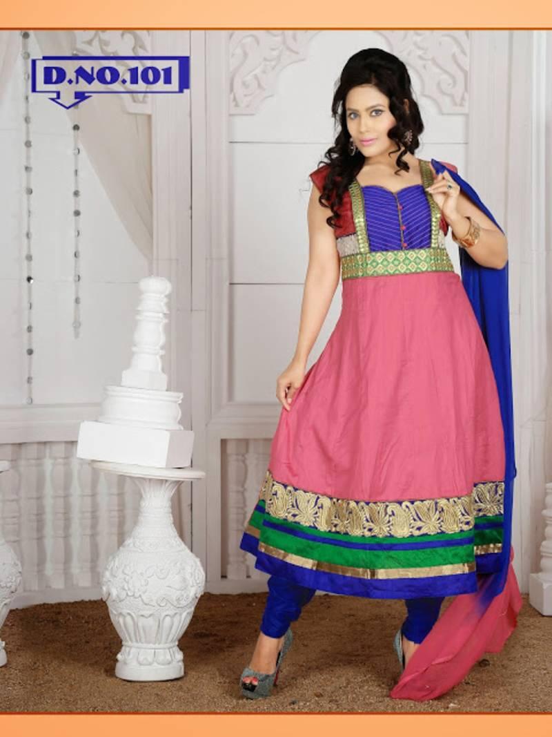 Buy light pink cambric cotton designer anarkali suit readymade