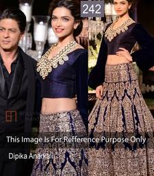 Buy Indian Replica Ethnic Deepika Dark Nevy Moss Velvet  Lehenga deepika-padukone-saree online