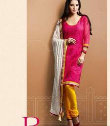 Buy Designer Pink & Yellow Chanderi Suit salwars-and-churidar online