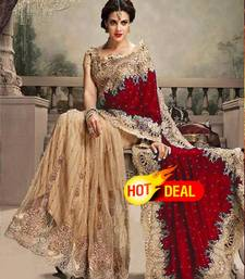 Buy Cream and Maroon embroidered net+velvet saree with blouse hot-deal online