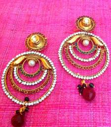 Buy Festive Red Green Polki Earrings with Vibrant Colours by ADIVA j24rg gifts-for-wife online