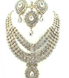Buy Bridal clear white 5 line kundan cz gold tone long necklace earring set o3 Necklace online