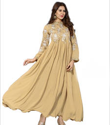 Buy Beige georgette embroidered semi stitched salwar bollywood-salwar-kameez-online online