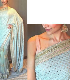 Buy green embroidered georgette saree With Blouse deepika-padukone-saree online