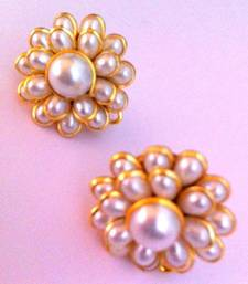 Buy Pearl white petals pachhi work stud earring traditional pachi jewelry k19w stud online