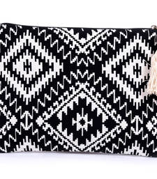 Buy Black cotton fashion hand embroidery wallets wallet online