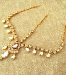 Buy Royal wedding jewelry white kundan mathapatti maang tikka maang-tikka online