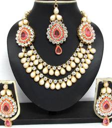 Buy Two Brooch Dark Pink stone Wedding Necklace Set necklace-set online