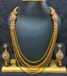 Buy Traditional Haram Jewelry Set in High Gold Polish with Blue Stones Necklace online