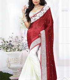 Buy Red jute cotton net  and chiffon print half half saree with blouse bridal-saree online