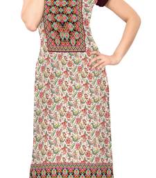 Buy multicolor Color Cap sleeve and Boat Neck Faux Crepe Kurti long-kurti online