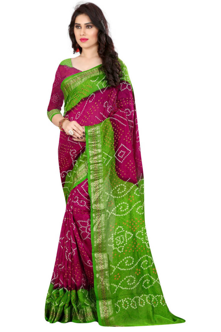 Buy Bandhani Saree Green Hand Woven Bandhani Saree With