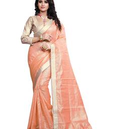 Buy Orange Lace Border Jacquard saree With Blouse jacquard-saree online