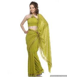 Buy Go Gaga Over , Green Viscous Georgette Sari Embedded With Sequins On The Sari georgette-saree online