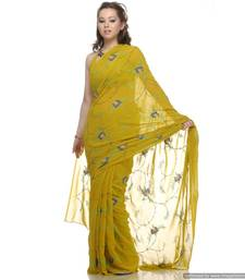 Buy A Happening Green , Viscous Georgette Sari With All Over Embroidery viscose-saree online
