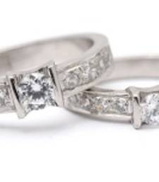 Buy Cara sterling silver and  certified Swarovski stone My Love is Bright Couple Bands engagement-gift online
