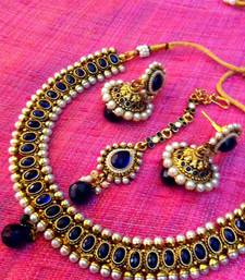 Buy Blue stones pearl ethnic glowing necklace set Necklace online