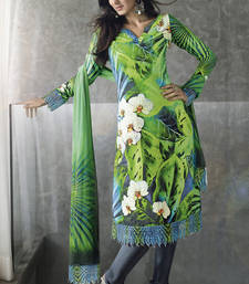 Buy Vishal faux georgette green Dress material Kitten920 dress-material online