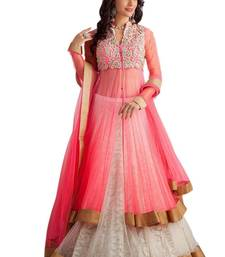 Buy Pink super net embroidered semi stitiched party wear gowns party-wear-gown online