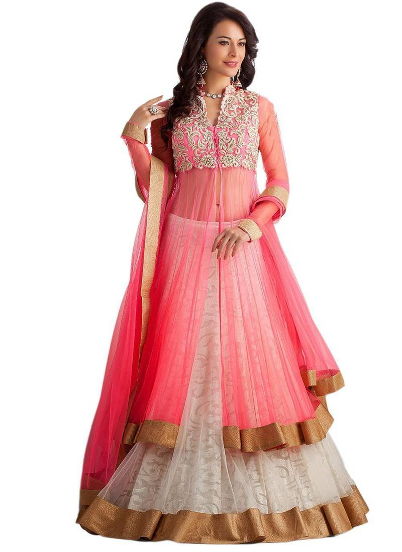 Buy Pink Super Net Embroidered Semi Stitiched Party Wear