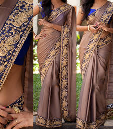 Buy brown embroidered georgette saree With Blouse designer-embroidered-saree online